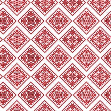 Red Traditional Ethnic Latvian Ornament. Christmas Seamless Pattern
