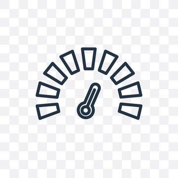speedometer icon isolated on transparent background. Simple and editable speedometer icons. Modern icon vector illustration.