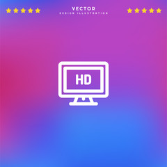 Premium Symbol of Tv Screen Related Vector Line Icon Isolated on Gradient Background. Modern simple flat symbol for web site design, logo, app, UI. Editable Stroke. Pixel Perfect.