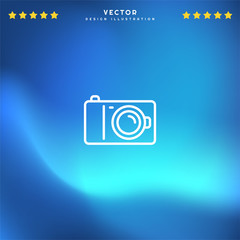 Premium Symbol of Camera Related Vector Line Icon Isolated on Gradient Background. Modern simple flat symbol for web site design, logo, app, UI. Editable Stroke. Pixel Perfect.