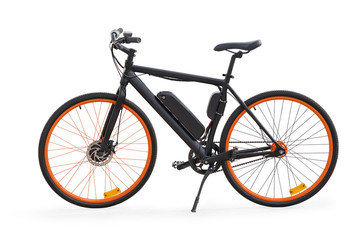 Aluminium Prints Bicycle Black electric bike isolated with clipping path