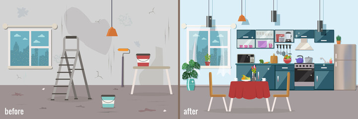 Kitchen before and after repair. Home interior renovation. Vecto