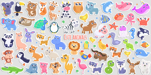 Cute cartoon animal stickers. flat design