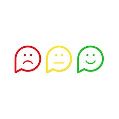 Red, yellow, green smile vector icon flat design