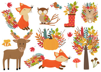 set of isolated forest animals and autumn plants - vector illustration, eps