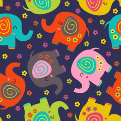 seamless pattern with colorful elephants and flowers - vector illustration, eps