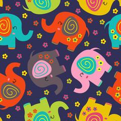 modèle sans couture avec des éléphants colorés et des fleurs - illustration vectorielle, eps