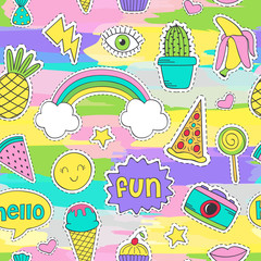 colorful seamless pattern with funny stickers - vector illustration, eps