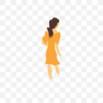 woman walking icon isolated on transparent background. Simple and editable woman walking icons. Modern icon vector illustration.