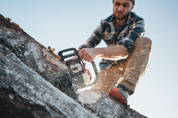 Strong bearded lumberjack in plaid shirt sawing tree with chainsaw, wood chips fly