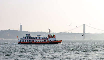 Ferry Sails in Tagus River
