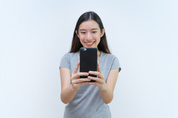 Asian woman taking photo, Mobile phone, Beautiful young woman