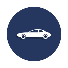 two-door car icon in badge style. One of cars collection icon can be used for UI, UX