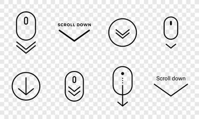 Scroll down icon. Vector scrolling sybmol for web design
