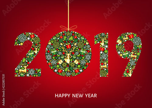 2019 happy new year greeting card with christmas ball