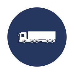 cargo with a trailer icon in badge style. One of cars collection icon can be used for UI, UX