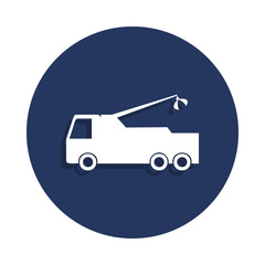cargo with a crane icon in badge style. One of cars collection icon can be used for UI, UX