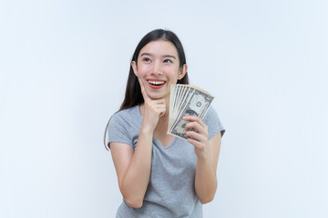 Asian woman holding money banknotes, banking concept, Dollar money
