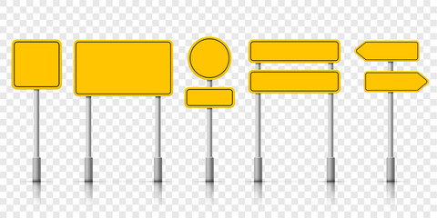 Yellow street road sign boards. Vector roadsign alert notice