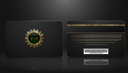 Vector template of membership or loyalty black VIP card with luxury geometric pattern. Front and back design presentation. Premium member, gift plastic card with golden crown, gem, barcode