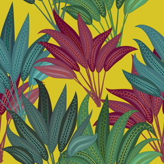 Seamless pattern of exotic jungle plant tropical palm leaves, floral vector on the yellow background.