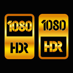 1080 HDR format gold and cut icon. Pure vector illustration on black background