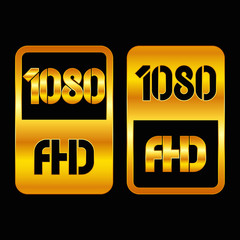 1080 Full HD format gold and cut icon. Pure vector illustration on black background