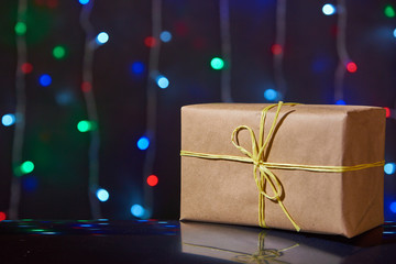 Ordinary craft Christmas box with lights