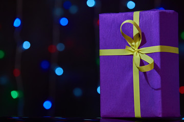 gorgeous violet design box for gifts on colorful background