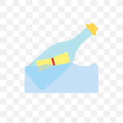 Message in a bottle vector icon isolated on transparent background, Message in a bottle logo design