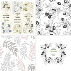 Olive design templates. Composition, seamless patterns, vertical banners. Vector illustration