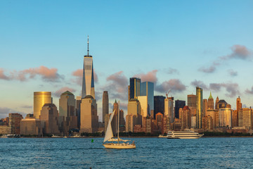 Fototapeta View to Lower Manhattan from Liberty State Park in New Jersey, USA