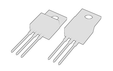 Isolated TO-220 MOSFET electronic package 3d illustration sketch outline