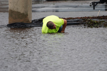 Man clears a storm drain in a flooded parking lot after Hurricane Florence struck Piney Green