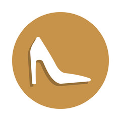 High heels shoes icon in badge style. One of clothes collection icon can be used for UI, UX