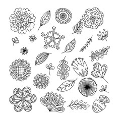 Vector set of doodle abstract flowers on a white bacground