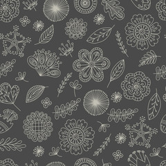 Seamless pattern for printing on paper or fabric. Doodles vector abstract flowers