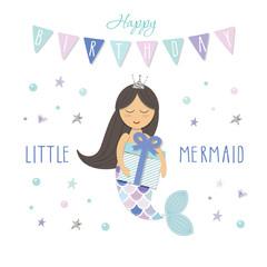 Cute mermaid birthday card template. Vector illustration.