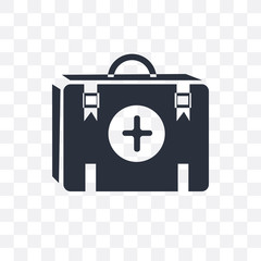 first aid kit icon isolated on transparent background. Simple and editable first aid kit icons. Modern icon vector illustration.