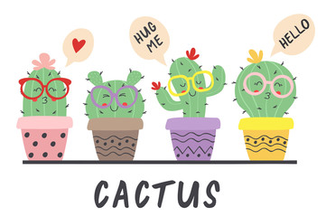 Deurstickers Bestsellers Kids cartoon funny cactus in glasses - vector illustration, eps
