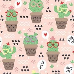 Poster seamless pattern with cartoon funny cactus in glasses - vector illustration, eps
