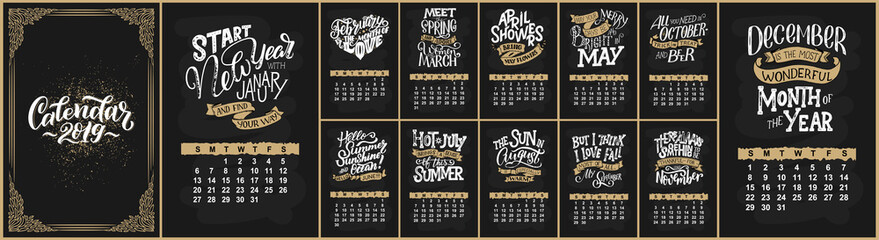 Vector calendar for months 2 0 1 9. Hand drawn lettering quotes for calendar design. Hand drawn style Fototapete