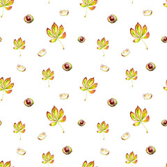 Seamless watercolor pattern of hand-drawn horse chestnut leaves and chestnut fruit on white background. Botanical natural design in warm autumn tones of yellow, green and brown.