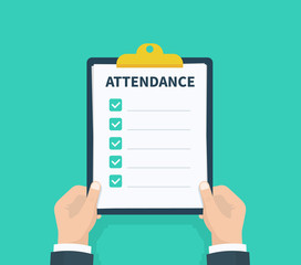 Wall Mural - Man hold Attendance clipboard with checklist. Questionnaire, survey, clipboard, task list. Flat design, vector illustration on background.