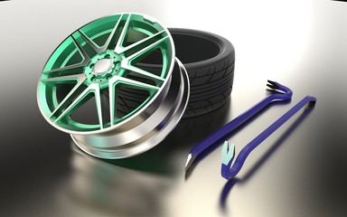 3d illustration of tire fitting equipment isolated on metallic