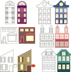 Set of outlined and colored houses, separated vector illustration