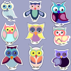 Set of separated cute owl stickers,decorative elements for sticker,buttons