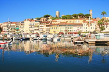 Le pittoresque vieux port de Cannes et le village historique du Suquet, Cote d'Azur, France  Wall mural