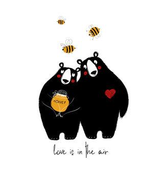 Couple Of Cute Bears In Love.