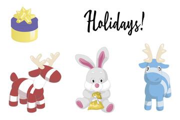Cute cartoon animals isolated on white background. Illustration of adorable plush holiday animals.